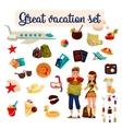 Travel icons set cartoon elements of holidays vector image