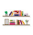two wooden shelves with books vector image vector image