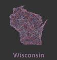 Wisconsin line art map vector image vector image