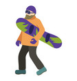 young guy with a beard is riding a snowboard in vector image