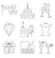 Party and celebration icons set vector image
