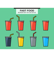 Set of fast food cups different colors in flat vector image
