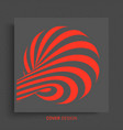 3d black red design pattern with optical vector image vector image