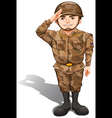 A soldier demonstrating a hand salute vector image vector image