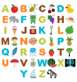 alphabet with pictures in the style of pixel art vector image vector image