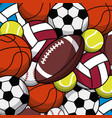 balls sport game various seamless pattern vector image
