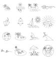 Beach icons set thin line style vector image