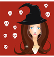 Beautiful witch in black hat vector image