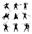 big set of warriors silhouette on white background vector image vector image