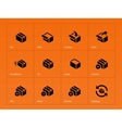 Box icons on orange background vector image vector image