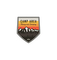 camping area and hiking vintage badge mountain vector image