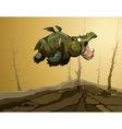 cartoon fairy flying hippopotamus with wings vector image vector image