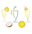 cocktail glass with ananas and coconut vector image