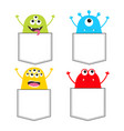 colorful monster silhouette set in pocket vector image vector image