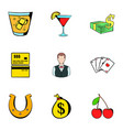 croupier icons set cartoon style vector image