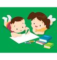 Cute boy and girl drawing vector image vector image