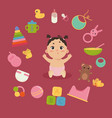 cute little baby in diaper with newborn essentials vector image