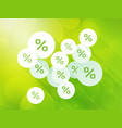 discounts on green spring background vector image vector image