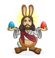 easter bunny jesus cartoon character vector image