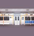 empty subway car interior modern city public vector image vector image