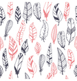 Ethnic seamless pattern with hand drawn feathers vector image vector image