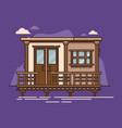 exterior view of house standing floating on water vector image vector image
