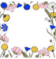 field flower drawing border vector image
