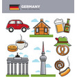 germany travel tourism landmark symbols and vector image