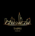 gold silhouette taipei on black background vector image vector image