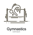 Gymnastics athlete at horizontal bar doing vector image