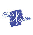 hair salon icon with scissors and grunge blue vector image