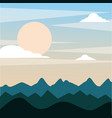 landscape evening mountains hill full moon sky vector image