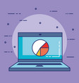 laptop computer with statistics vector image vector image