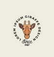 line style giraffe face with retro typography vector image vector image