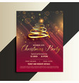 luxury golden ribbon christmas tree flyer vector image vector image