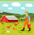 male farmer feeding chickens vector image vector image