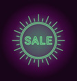 neon banner of green sale badge vector image vector image