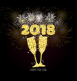 new year champagne toast golden 2018 background vector image vector image