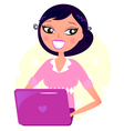 Office woman working with pink Laptop vector image vector image