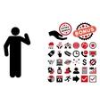 Opinion Pose Flat Icon with Bonus vector image