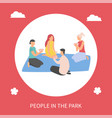 people in park man and woman playing cards vector image vector image