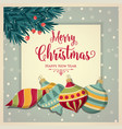 retro christmas card with baubles vector image vector image