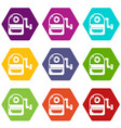 school bag icons set 9 vector image