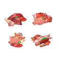 set of cartoon meat elements piles vector image