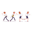 set of male and female clerk running rear front vector image vector image