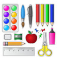 Set of School Tools and Supplies vector image