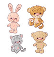 set tiger cub kitten teddy bear hare hand drawing vector image
