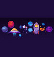 space exploring icons planets rocket telescope vector image