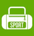 sports bag icon green vector image vector image