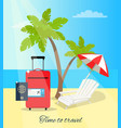 time to travel seaside poster vector image vector image